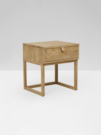 Willow Leather Tab Bedside Table - Teak