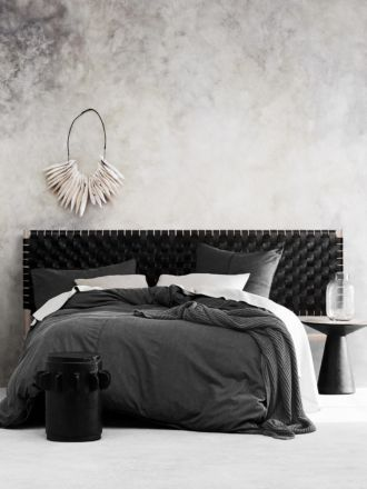Seed Woven Leather Bedhead in Black - King