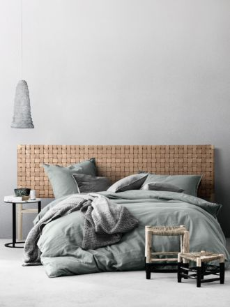 Seed Woven Leather Bedhead in Natural - King