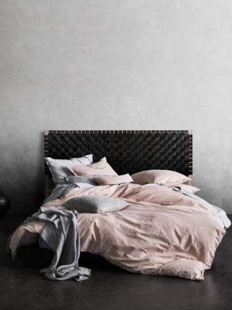 Seed Woven Leather Bedhead in Black - Queen