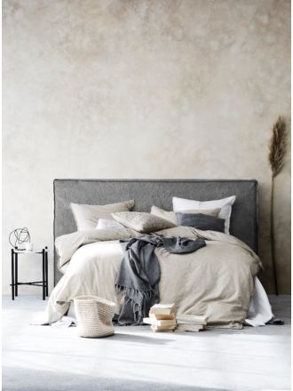 Vittoria Linen Slipcover Bedhead in Smoke - King
