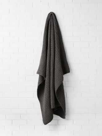 Hand Knit Throw - Charcoal