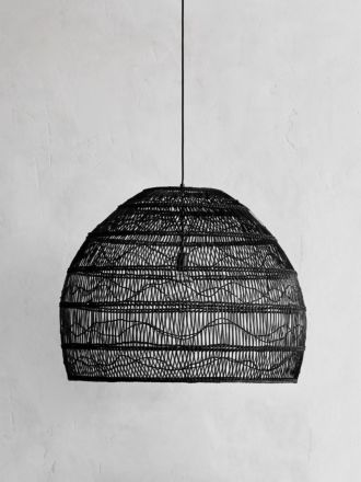 Wicker Pendant Black Large - HK Living