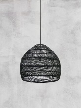 Wicker Pendant Black Medium - HK Living