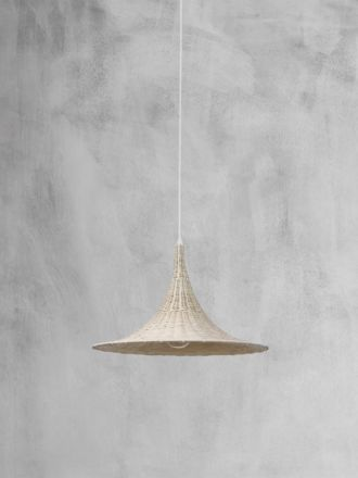 Wicker Trumpet Pendant Light - Natural
