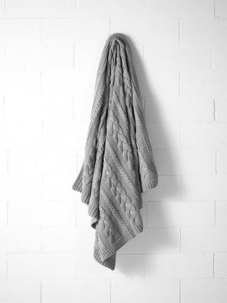 Jumbo Cable Knit Throw - Grey Marle
