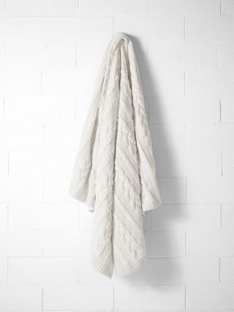 Jumbo Cable Knit Throw - Marshmallow