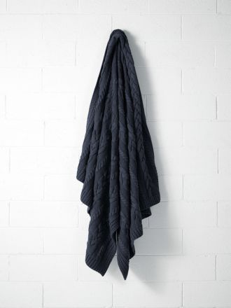 Jumbo Cable Knit Throw - Slate