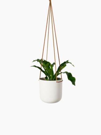 White Hanging Planter Medium by Lightly