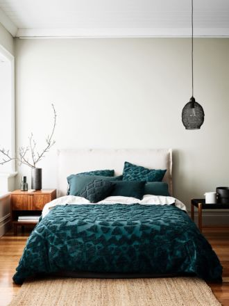 Maya Quilt Cover - Indian Teal