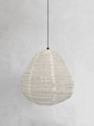 Fringed Linen Light Shade - Oatmeal