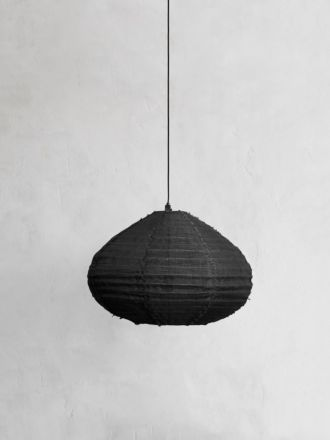 Fringed Linen Light Shade - Carbon