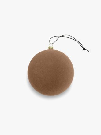 Velvety Ball Christmas Decoration - Small Curry