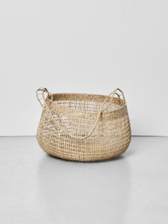 Lally Woven Basket with Long Handle Large