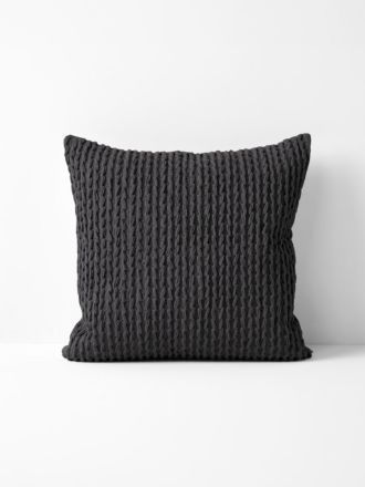 Plaited Knit Cushion - Charcoal