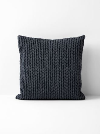 Plaited Knit Cushion - Greystone
