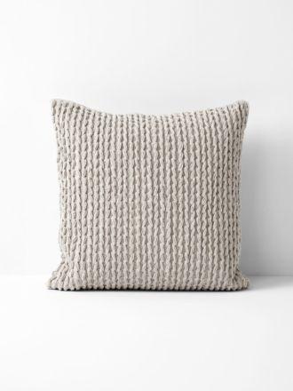 Plaited Knit Cushion - Natural