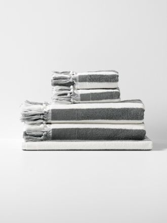 Stripe Bath Towel Set - Smoke