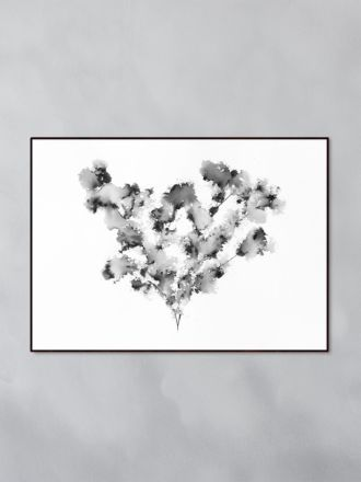 Field Flower Black Art Print by Trine Holbaek