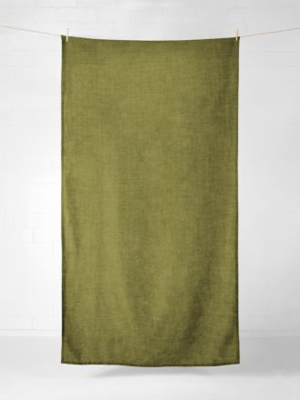 Vintage Linen Tablecloth / Throw - Olive