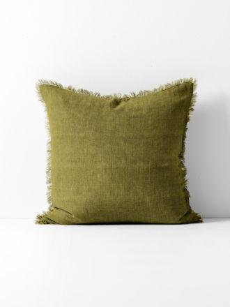 Vintage Linen Fringe Cushion - Olive