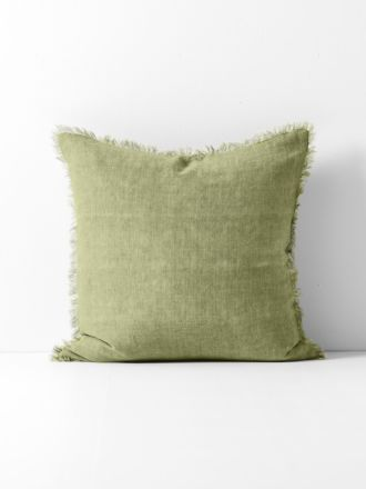 Vintage Linen Fringe Cushion - Willow