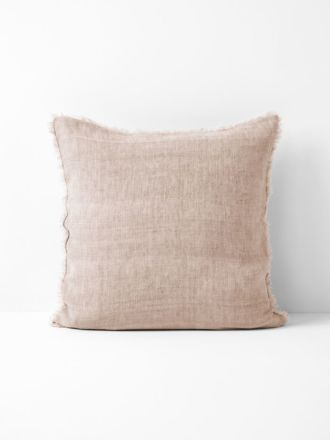 Vintage Linen Fringe Cushion - Blush