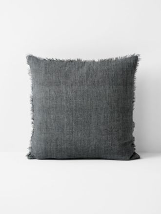 Vintage Linen Fringe Cushion - Charcoal