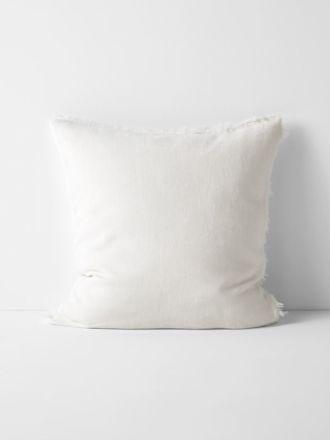 Vintage Linen Fringe Cushion - Marshmallow