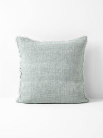 Vintage Linen Fringe Cushion - Mist