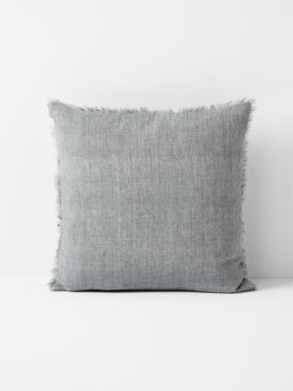 Vintage Linen Fringe Cushion - Smoke
