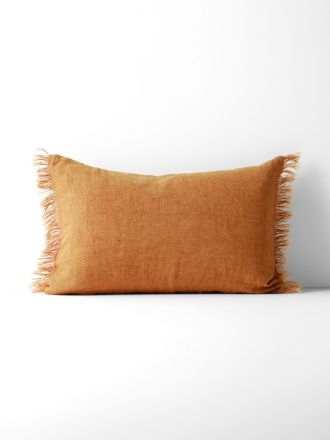 Vintage Linen Fringe Rectangle Cushion - Cinnamon