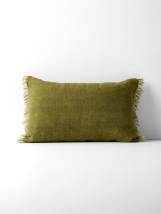 Vintage Linen Fringe Rectangle Cushion - Olive