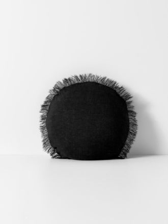 Vintage Linen Fringe Round Cushion - Black