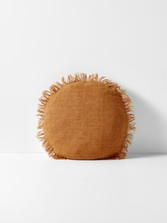 Vintage Linen Fringe Round Cushion - Cinnamon
