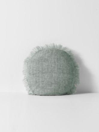 Vintage Linen Fringe Round Cushion - Limestone