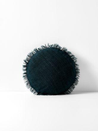 Vintage Linen Fringe Round Cushion - Slate