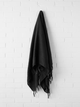 Vintage Linen Fringe Throw - Black