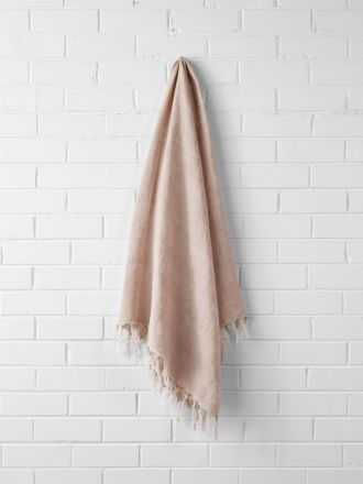 Vintage Linen Fringe Throw - Blush