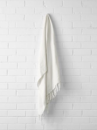 Vintage Linen Fringe Throw - Marshmallow