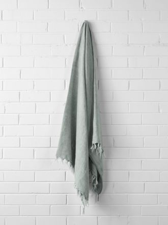 Vintage Linen Fringe Throw - Mist