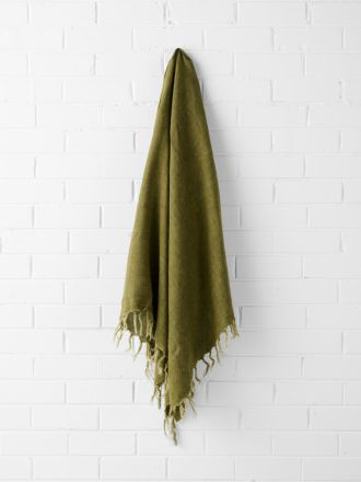 Vintage Linen Fringe Throw - Olive