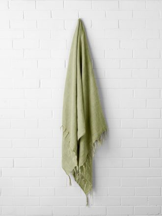 Vintage Linen Fringe Throw - Willow