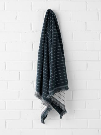 Vintage Stripe Bath Sheet - Slate