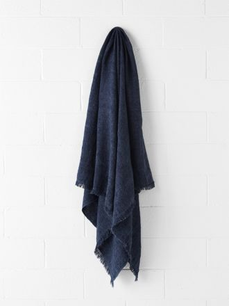 Vintage Linen Throw - Indigo