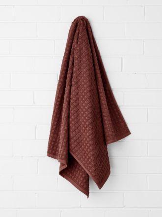 Waffle Bath Towel - Mahogany