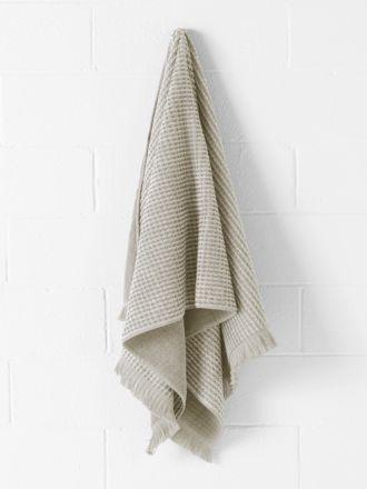 Waffle Fringe Bath Towel - Natural