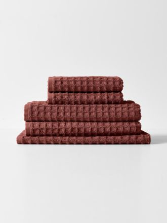 Waffle Towel Set - Mahogany