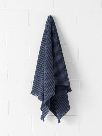 Waffle Fringe Bath Towel - Denim