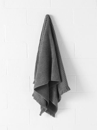 Waffle Bath Towel - Smoke